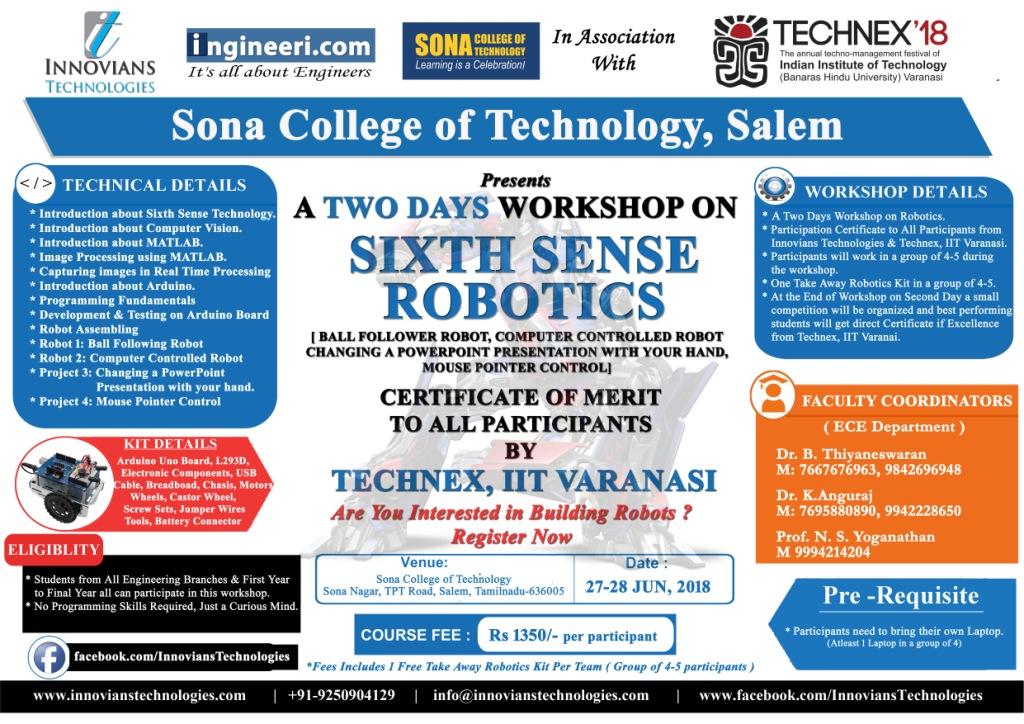 "Two days workshop on ""Sixth Sense Robotics"" and Technex'18"