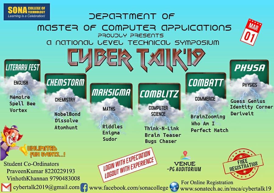 Cyber Talk'19 – A National Level Technical Symposium | SONA