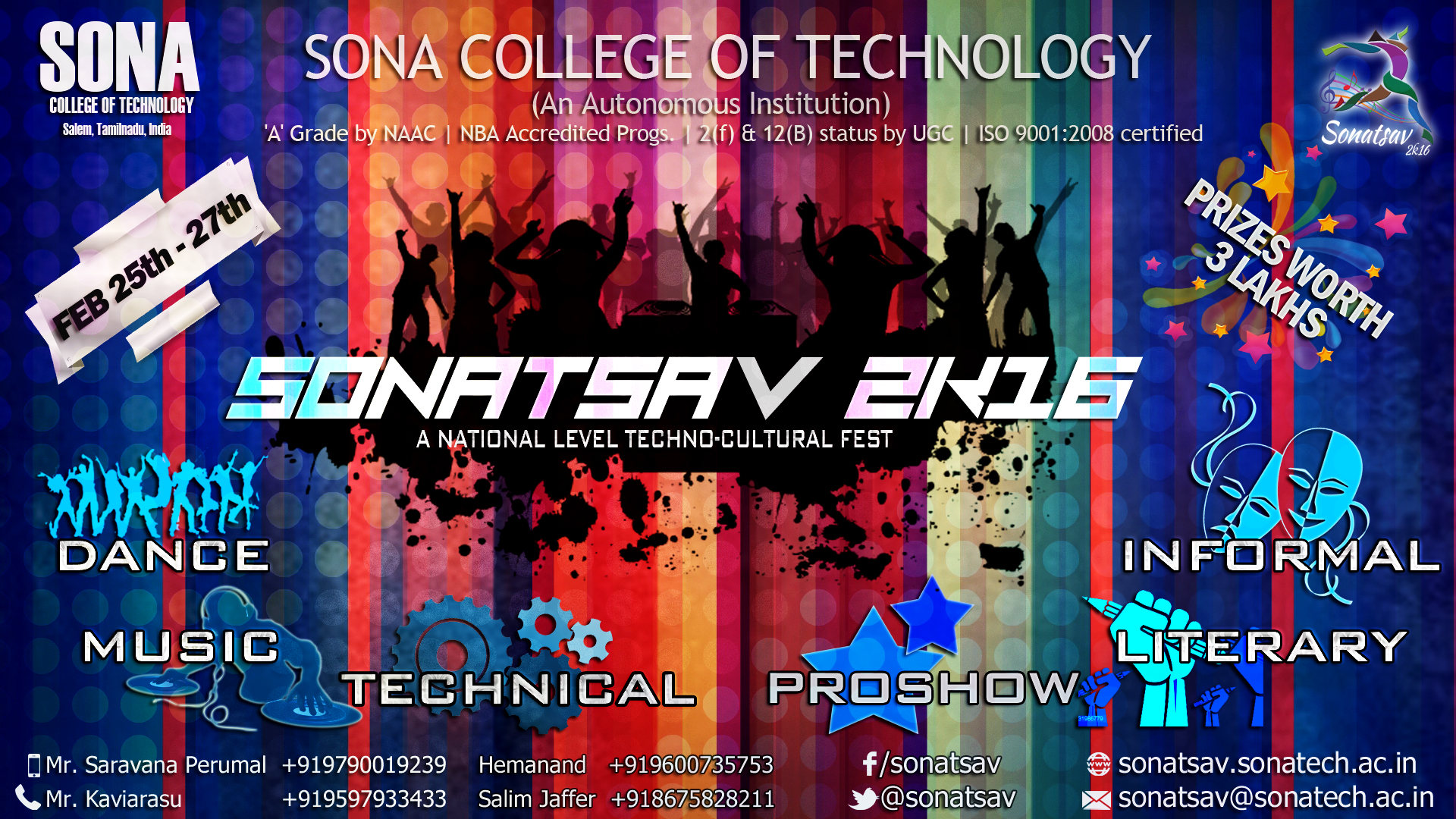 Poster design for college fest - Main Poster Sona College Sports Ground