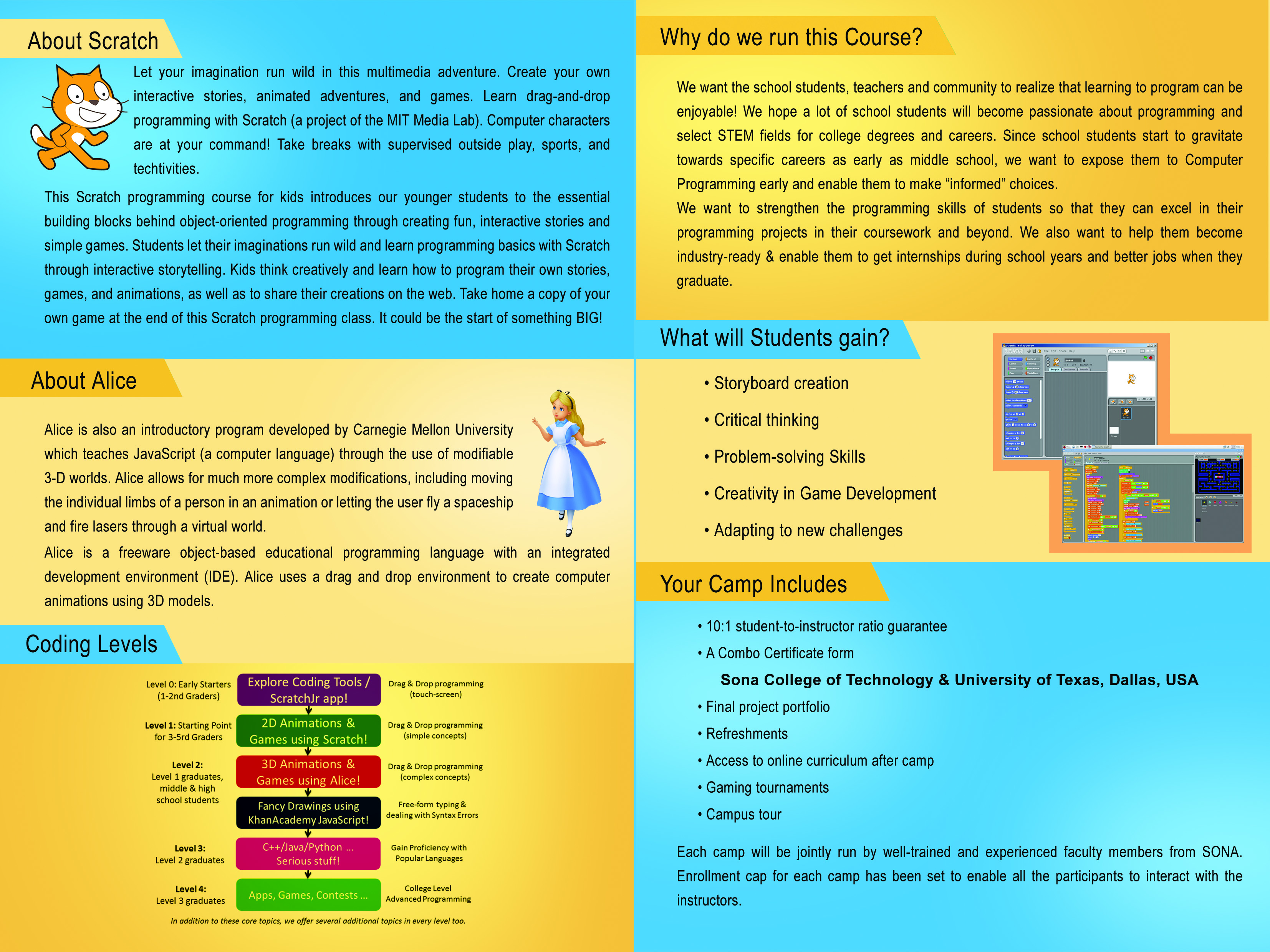 CSI sponsored summer camp on Creative Programming – Scratch and