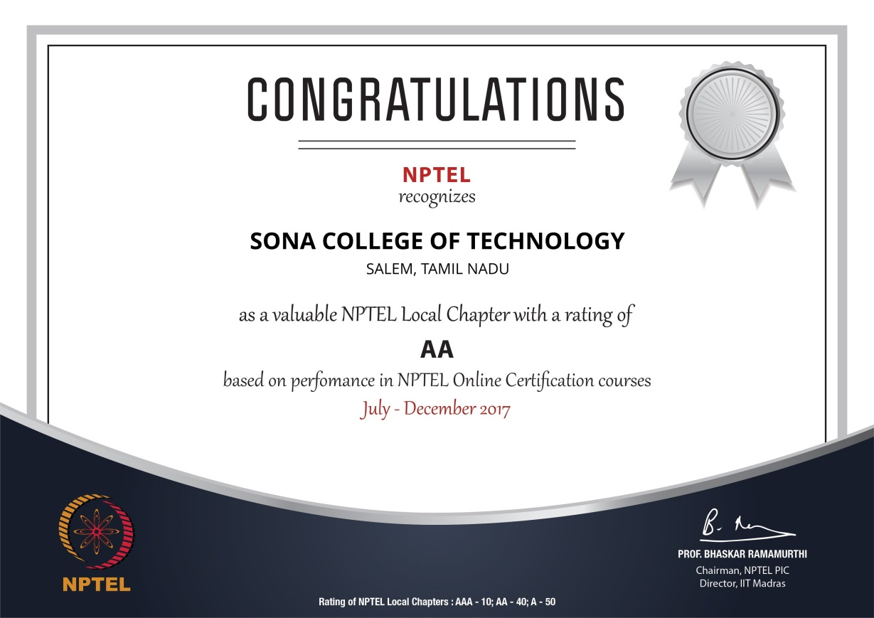 NPTEL TOP PERFORMERS | SONA College of Technology | News and