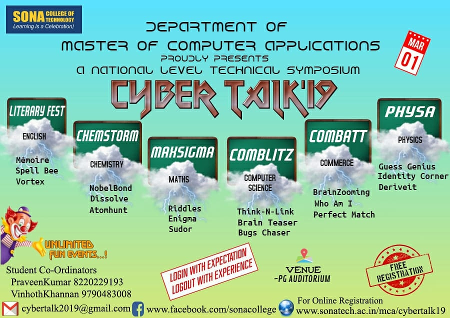 Cyber Talk'19 – A National Level Technical Symposium | SONA