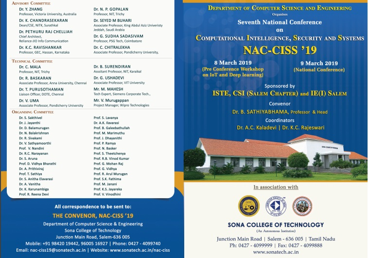 NAC-CISS' 19 – 7th National Conference on Computational Intelligence