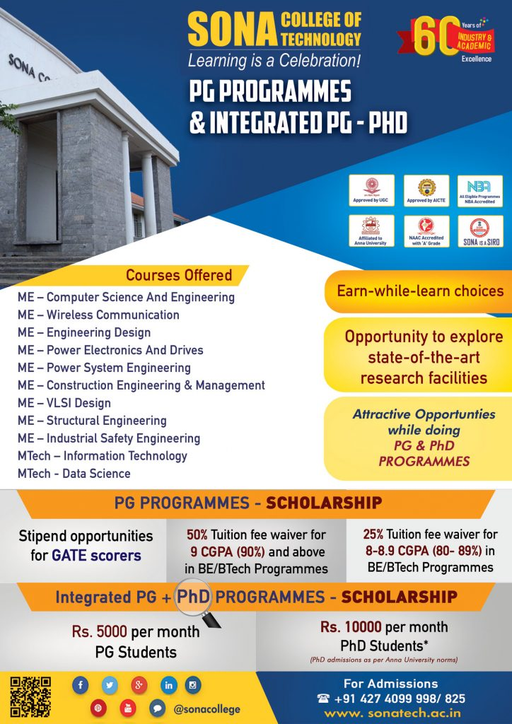 ME/MTech Programmes at Sona