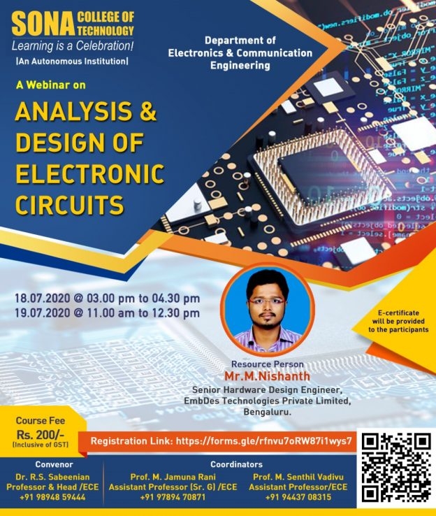 Analysis and design of electronic circuits